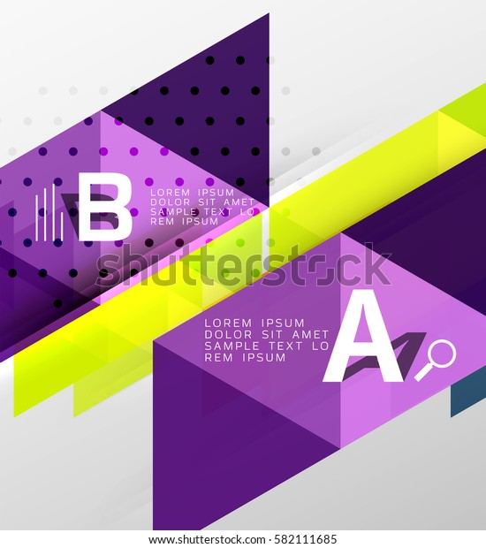 Vector triangle banner, colorful geometric shapes with option infographic, minimalistic design