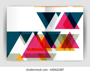 Vector triangle business annual report cover print template. Brochure template layout, abstract cover design annual report, magazine, flyer or booklet. Geometric background