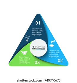 Vector triangle element for infographic. Template for cycle diagram, graph, presentation and chart. Business concept with 3 options, parts, steps or processes. Abstract background.