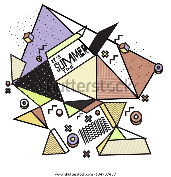 Vector of triangle geometric forms for summer events. Modern info banner abstract backgrounds for holiday poster. message presentations or identity layouts. Graphic template and ideas.