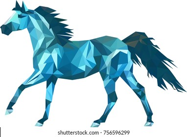 Vector triangle horse. Abstract horse of geometric shapes. Sign of the blue horse. Backdrop. Gradient.