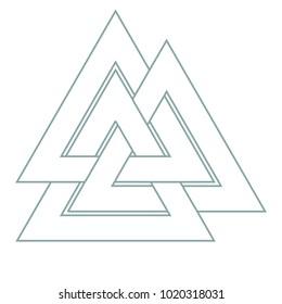 Vector Triangle Illustration Valknut The Symbol Of Germanic Paganism Sign God