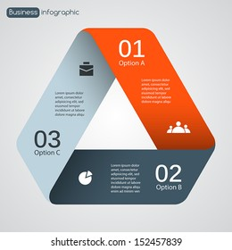 Vector triangle infographic. Template for diagram, graph, presentation and chart. Business concept with three options, parts, steps or processes. Abstract background.