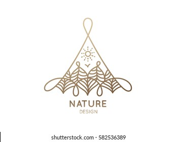 Vector triangle logo of nature elements on white background. Linear icon of landscape with trees and sun - business emblems, badge for a travel, spa and ecology concepts, health and yoga Center.
