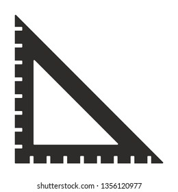 Vector triangle measurement icon. Ruller monochrome flat symbol isolated. Triangle scale sign, logo illustration.