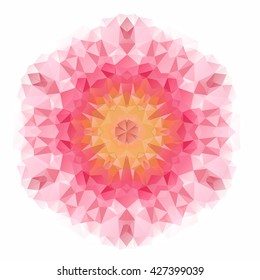 Vector triangle pattern background. Kaleidoscope flower mandala. Modern banner design template, vector illustration. Vector colorful mosaic