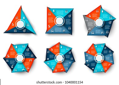 Vector triangle, square, pentagon, hexagon, heptagon and octagon infographic. Business diagrams with 3, 4, 5, 6, 7 and 8 steps or options. Geometric abstract elements.
