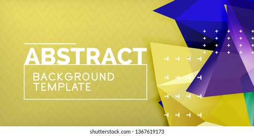 Vector triangular 3d geometric shapes background, modern poster design. Color triangles and lines abstract design