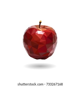 vector triangulation of juicy red apple on white background.Low poly