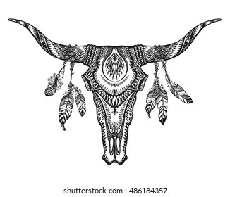 Vector tribal animal skull illustration with ethnic ornaments