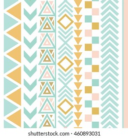 Vector tribal Aztec seamless patterns. Ethnic tribal borders. Tribal elements isolated. Boho folk Navajo frames. Tribal design. Geometric tribal background.  Aztec. Aztec. Aztec. Aztec. Aztec. Aztec