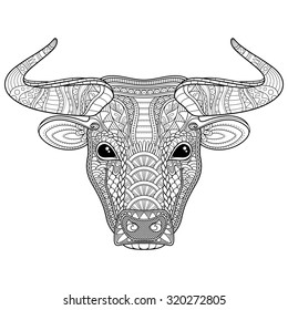 Vector Tribal Decorative Bull. Isolated Animal On White Background. Zentangle Style