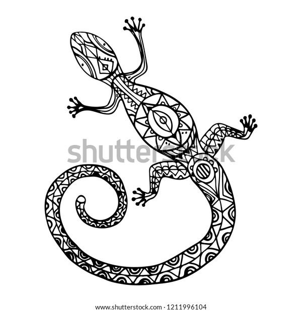 7cbb0a485 Vector tribal decorative lizard. Design for temporary tattoo or coloring  book