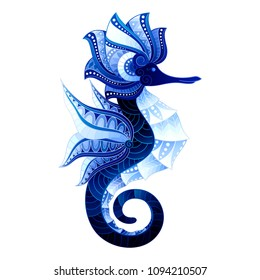Vector Tribal Decorative Seahorse. Isolated Illustration On White Background. Detailed Contour
