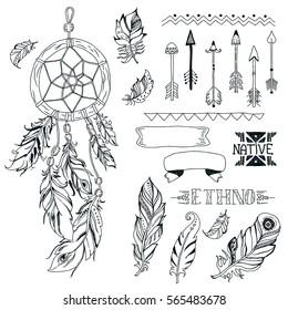 9b8ec74b0 Vector Tribal design elements, aztec symbols, arrows, dream catcher,ribbon,  native