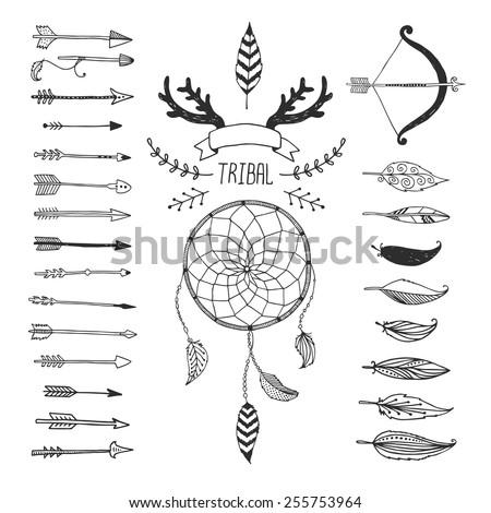 Vector Tribal Design Elements Aztec Symbols Stockvector Rechtenvrij