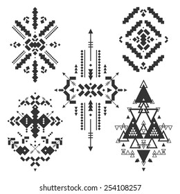 Vector Tribal elements, ethnic collection, aztec style isolated on white background