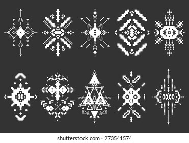 Vector Tribal elements, ethnic collection, aztec stile, tribal art, tribal design  isolated on black background
