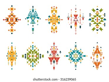 Vector Tribal elements, ethnic collection, aztec style, tribal art, colorful tribal design isolated on white background