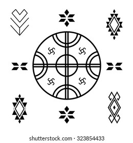 Vector Tribal elements, ethnic collection isolated on white background. Ethnic pattern in native style. Set of ornamental elements and symbols