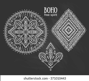 Vector Tribal elements, ethnic collection, aztec stylish ornaments, tribal design isolated on chalkboard background