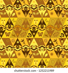vector tribal ethnic African golden yellow and brown geometric pattern with eye symbol, floral and leaves for textile, backgrounds, fabric, backdrop and wallpaper decor. pattern swatch at eps. file