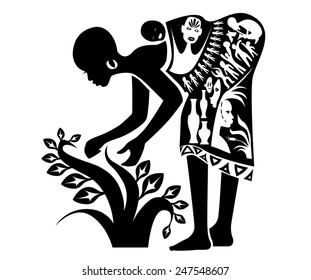 Vector tribal ethnic african working woman, illustration, tattoo stamp - simple