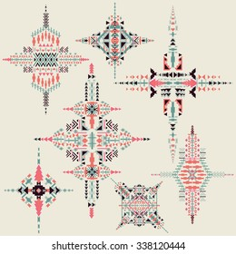 Vector Tribal ethnic ornament. Aztec decor elements.  Design isolated on pastel background. Native  motifs  Flat decor elements. Perfect for your design,  banners, posters, cards.