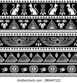 Vector tribal ethnic seamless pattern with Egypt symbols