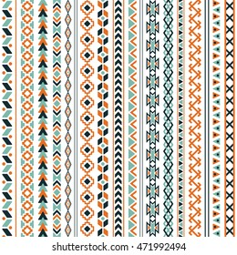 Vector tribal ethnic seamless pattern. Aztec abstract background. Mexican ornament texture. Native american traditional design. Folk geometric print