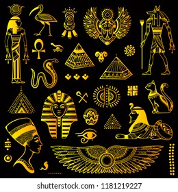 Vector tribal ethnic set of Egyptian symbols.