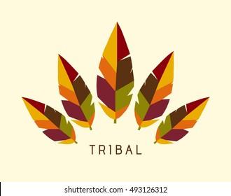 Vector Tribal Feathers Logo Illustration - Autumn
