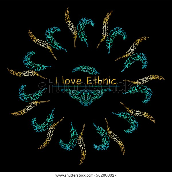 Vector tribal frame with place for Your text. Illustration of ethnic feathers, dreamcatcher. Boho style art, perfect for invitations, quotes, blogs, posters and more. Bright blue and gold colors
