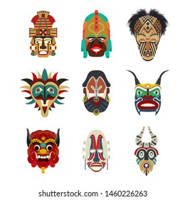 Vector tribal masks set, isolated objects over white background