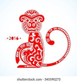 Vector tribal monkey illustration. New year calendar