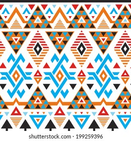 Vector tribal striped seamless pattern. Geometric background with colored triangles
