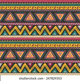 Vector tribal striped seamless pattern. Geometric background