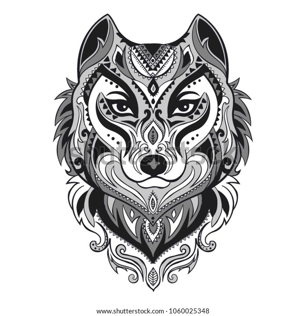 Vector Tribal Style Wolf Totem Tattoo Stock Vector Royalty