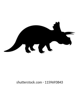 vector triceratops dinosaur  black silhouette  isolated on white background
