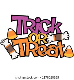 Vector Trick or Treat Candy Halloween Phrase Illustration. Perfect for scrapbooking, kids, stationary, Halloween, clothing, accessories, and home decor projects.