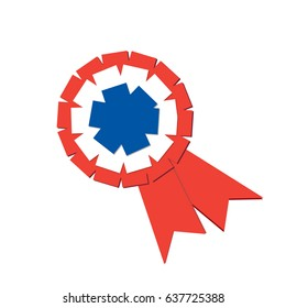 Vector tricolor cockade isolated. Rosette or ribbon isolated. French colors.