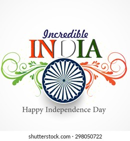 Vector tricolor floral background with Asoka wheel for independence day India.