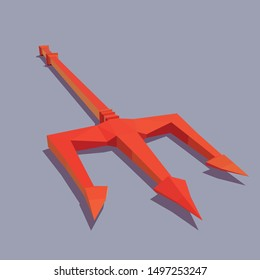 Vector trident of the devil. Illustration for Halloween. Low poly 3d vector illustration.
