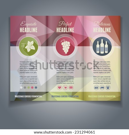 vector trifold flyer brochure template colorful stock vector