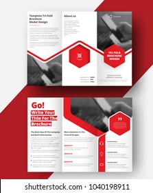 Vector triple folding brochure for business and advertising. The template is white with a red hexagon and a place for photos. Design for printing and advertising.