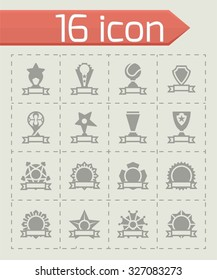 Vector Trophy and Awards icon set on grey background