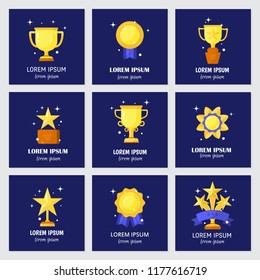 Vector trophy, medals, cups and awards icons set isolated on  background and text. Flat style.