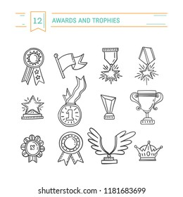 Vector trophy, medals, cups and awards icons set isolated on background. Handdrawn outline style.