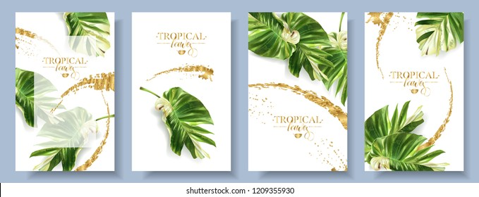 Vector tropical alocasia leaf banner on white background. Exotic botany for cosmetics, spa, perfume, health care products, aroma, turist agensy. Best as wedding invitation design. With place for text