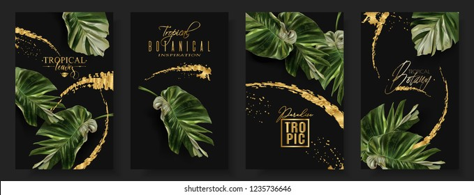 Vector tropical alocasia leaf banner set on black background. Exotic botany for cosmetics, spa, perfume, health care products, fashion, tourist agency. Best as wedding invitation. With place for text